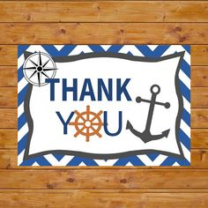 INSTANT DOWNLOAD Printable Nautical Thank by BabyStarfishDesigns