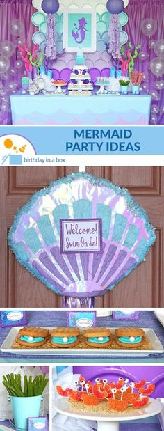 See our tips on throwing a Mermaid themed birthday that will make waves! This purple, pastel and pearl party is sure to get the mermaids' fins-a-flipping! Mermaid Theme Birthday, Little Mermaid Birthday, Little Mermaid Parties, Birthday Box, 1st Birthday Parties, Birthday Party Invitations, Birthday Ideas, Mermaid Pinata, Mermaid Costumes