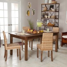 Appealing Wooden Rustic Dining Room Tables Combined With Chairs In Rattan Materials