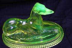 John Derbyshire vaseline glass greyhound paperweight sold for $500