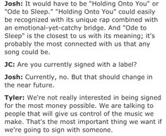Twenty-one pilots interview! I don't know why but it makes me happy!!