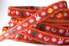 woven ribbon 'Summerforest' red by ByBora on Etsy, £1.60