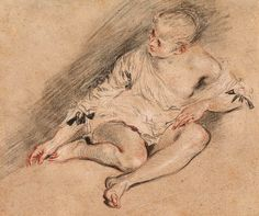 Antoine Watteau | 1684-1721 | Seated Young Woman. Verso: various slight sketches in red chalk, including a sketch of a foot | The Morgan Library & Museum