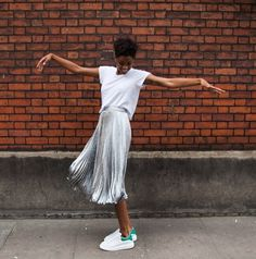 sneakers, pleated skirt and t-shirt
