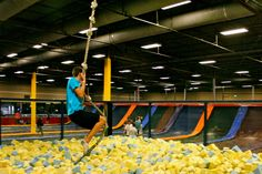 instead of bouncy house- rope swing and foam pit