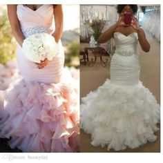 2017 Vintage Mermaid Wedding Dresses Blush Wedding Gowns Crystals Beading Sash Sexy Sweetheart Lace-up Back Pleat Bridal Gowns Court Train