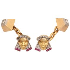 Exceptional Pharoah & Pyramid Cufflinks with Rubies & Diamonds | From a unique collection of vintage cufflinks at https://www.1stdibs.com/jewelry/cufflinks/cufflinks/