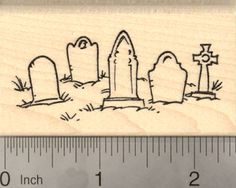 Halloween Graveyard Rubber Stamp, with Tombstones Cemetery Scene (H22402) $10 at RubberHedgehog.com