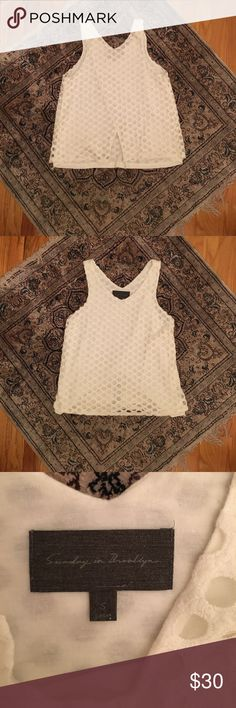 Sunday In Brooklyn Circle Lace Tank Size S white Sunday in Brooklyn Circle Lace tank. Brand carried at Anthropologie Anthropologie Tops Tank Tops
