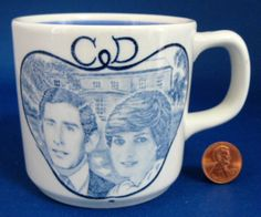 This is a blue transferware ironstone mug made for the Royal Wedding in 1981 of Prince Charles and Princess Diana by Adams, England. The ironstone mug measures