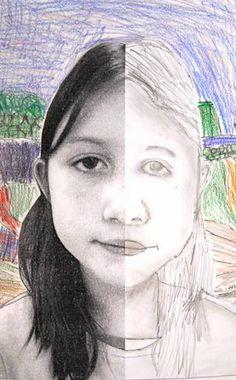 Grade 3. Portrait drawing- symmetry- LBA Arts Shutterfly Page