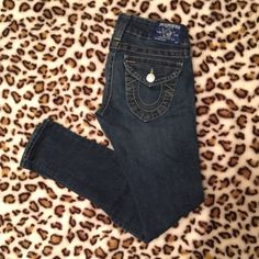 True Religion jeans Perfect condition. Dark blue. They look new. A little wrinkled because they've been in my closet. Purchased from Nordstrom about 3 years ago. True Religion Jeans Skinny