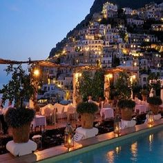 amalfi coast, italy - places to go before you die - resort- mountain side - lights - honeymoon