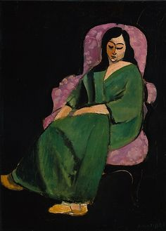Painting by Henri Matisse (1869-1954), 1916,  Laurette in a Green Robe, Black Background, oil on canvas. Painted at 19, Quai Saint-Michel in Paris.