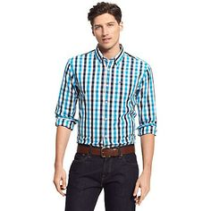 Tommy Hilfiger Custom Fit Plaid Shirt - Blue and Black Gingham