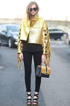 Chiara Ferragni in a gold jacket. #Streetstyle #MFW Fall 2014