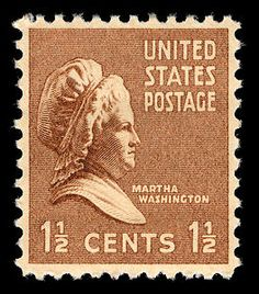 The 1.5-cent Martha Washington stamp was part of the 1938 Presidential Series - the only woman pictured and one of only three non-presidential stamps in the series.