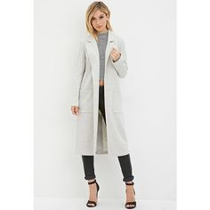 Forever 21 Forever 21 Women's  Open-Front Duster Coat ($40) ❤ liked on Polyvore featuring outerwear, coats, duster coat, open front coat, forever 21, forever 21 coat и full length coat