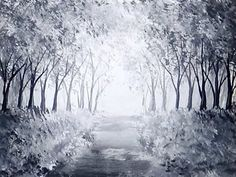 Forest Path Acrylic Painting with Black & White Paint | Monochromatic Painting StudioSilverCreek - YouTube