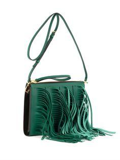 #Marni Fringed leather shoulder #bag
