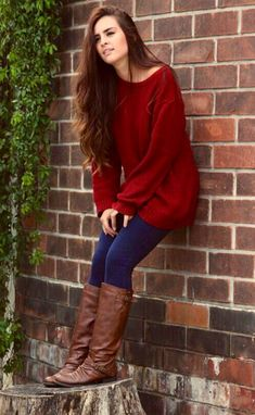 Oversized Sweaters, Boots, & Jeans