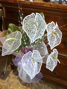Romanian point lace lilies