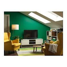 IKEA - HAGGE, Tv-meubel, wit, , De schuifdeur bespaart plaats en houdt alle spullen uit het zicht, terwijl je ze toch bij de hand hebt als je ze nodig hebt.Ingebouwd kabelmanagement; alle snoeren netjes weggewerkt, maar binnen handbereik.