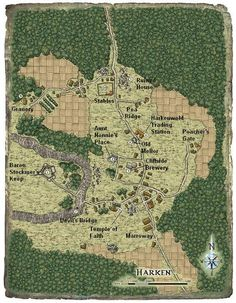 Reavers of Harkenwold is the primary inspiration for my Daggerdale campaign so I will include the map of Harken here. Fantasy Castle, Fantasy Map, Medieval Fantasy, Environment Map, Map Symbols, Village Map, Rpg World, Asturian, Forgotten Realms
