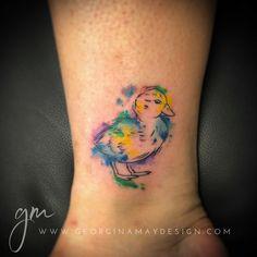 Water colour tattoo of duckling Perth Based Artist, Australia WA © Tattoo artist Georgina May, Tattooist Duck Tattoos, Tatoos, Images Eid Mubarak, Watercolor Tattoo Artists, Pretty Flower Tattoos, May Designs, Get A Tattoo, One Color, Tattoo Inspiration