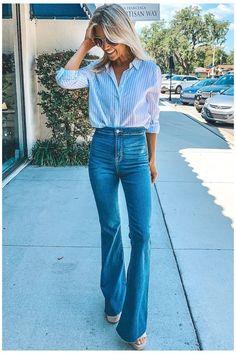 Outfits Jeans, Flare Jeans Outfit, Jeans Outfit Summer, Summer Jeans, Spring Outfits, Casual Outfits, Cute Outfits, Fashion Outfits, Fashion Tips