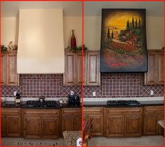 Before and After Tuscan Vineyard Mural on Kitchen Rangehood