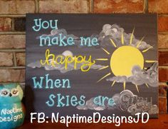 You are my #sunshine canvas painting for #nursery gender neutral grey yellow #turquoise facebook: NaptimeDesignsJD #ECMC