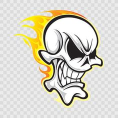 Skull Flame Sticker Decal