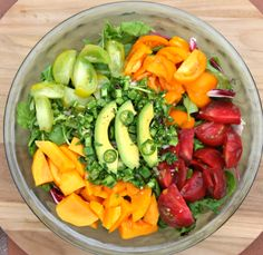 Mango Tomato Salad Mango Tomato is one of my favorites and it seems that way for many people too so you will definitely love this salad, especially during summer when heirlooms are in season. Sweet and delicious BLISS!