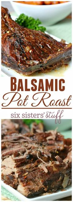 Balsamic Pot Roast recipe from @sixsistersstuff | This Balsamic Pork Roast takes about 5 minutes to throw together and it cooks all day in the slow cooker while you do other things! And your house will be filled with delicious smells all day! More