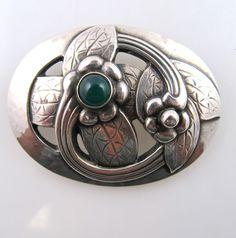 GEORG JENSEN 830 SILVER CHRYSOPRASE PIN BROOCH EARLY MARK 1910-25