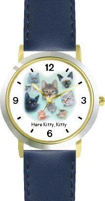 Collage of Kittens Cat - JP - WATCHBUDDY® DELUXE TWO-TONE THEME WATCH - Arabic Numbers - Blue Leather Strap-Children's Size-Small ( Boy's Size & Girl's Size ) WatchBuddy. $49.95