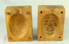 ! Antique Carved Two-Block Face-Shaped Chocolate Candy Egg Form Mold Wood Treen #na