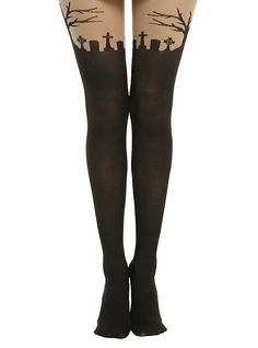 4dd894450 Blackheart Graveyard Faux Black Thigh High Tights