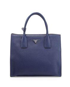 Daino Tote Bag, Navy (Inchiostro) by Prada at Bergdorf Goodman.