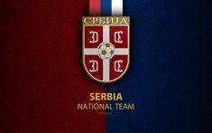 Download wallpapers Serbia national football team, 4k, leather texture, coat of arms, emblem, logo, football, Serbia
