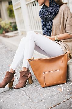 white and tan outfit