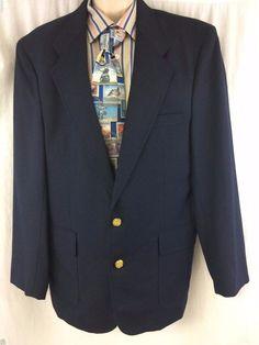 Hill & Archer Sport Coat Dark Blue Navy 44R Wool 2 Gold Buttons Vented Blazer #HillArcher #TwoButton