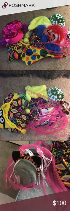 Huge Lot of Festival/Burning Man/Rave Bundle!!!!! 8 hats, 2 head band crazy pink tube and ribbons pigtails and tiger 🐯 ears headband, neon green ear hat, minions hat, approximately 5 lbs of  beaded necklaces of all sorts and colors, neon peace bag, pair of funny glasses, a hot pink hat with purple pigtail curly hair, red, white and blue fuzzy hat, an oversized bright colored necktie. All costume/or made into for events! So much fun! $360 worth of stuff here easy! Accessories Hats