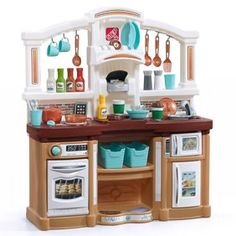 Fun with Friends Play Kitchen with 38 Piece Accessory Play Set - Tan Toddler Play Kitchen, Play Kitchen Sets, Kitchenette, Kitchen Playsets, Kidkraft Kitchen, Tan Kitchen, Kitchen Stuff, Kitchen Design, Cooking Toys