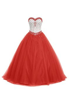 85b96ac4794 Bbonlinedress Sweetheart Quinceanera Formal Ball Gowns Beaded Floor Length Prom  Dresses Red 12 -- Click for Special Deals