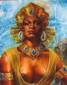 Maferefun Oshun, Orisha of the sweet rivers and bringing love into African Mythology, African Goddess, Orisha, African American Art, African Art, African Women, Black Women Art, Black Art, Goddess Of Love