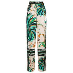 Emilio Pucci Cactus Foulard Trousers ($1,285) ❤ liked on Polyvore featuring pants, pink wide leg pants, wide leg pants, pleated pants, pleated wide leg trousers and pleated trousers