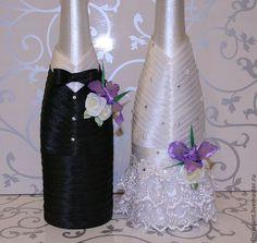 """Купить Украшение шампанского """"Ирисы"""" - украшение шампанского, ирисы, сиреневый, украшение бутылок, розы"""