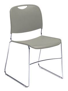Hi-Tech Ultra Compact Gunmetal Grey Plastic Stacking Chair
